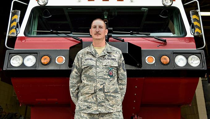 Airman presented local Fireman of the Year award